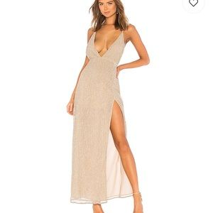 Sexy HIGH SLIT MAXI DRESS IN CHAMPAGNE GOLD